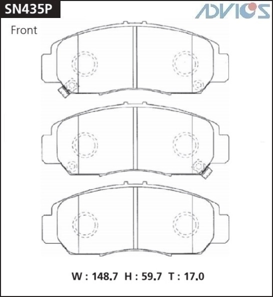 Дисковые тормозные колодки ADVICS (F) HONDA ACCORD CL / CM (03-08), CROSS ROAD RT1 (07-10), ODYSSEY RB (03-08), STEP WGN RG3 / RG4 (05-09), STREAM RN (06-)  SN435P